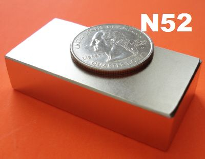 Neodymium Magnets N52 2 in  x 1 in x 1/2 in Strong Rare Earth Block