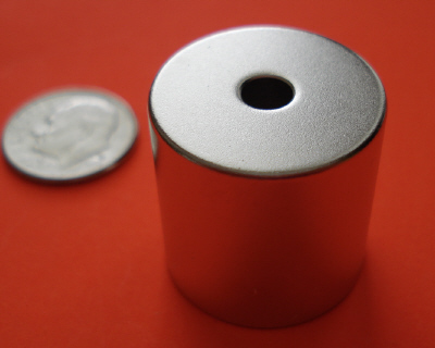 Neodymium Magnets 7/8 in x 7/8 in Cylinder w/3/16 in Hole