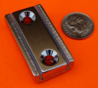 1.5 in X 13/16 in X 3/8 in Channel Magnet-Rectangular Cup Magnet W/2 Countersunk Holes