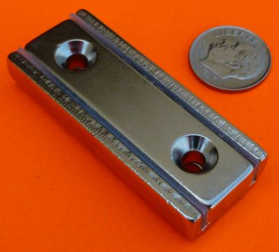 2 in X 13/16 in X 3/8 in Channel Magnet-Rectangular Cup Magnet W/2 Countersunk Holes