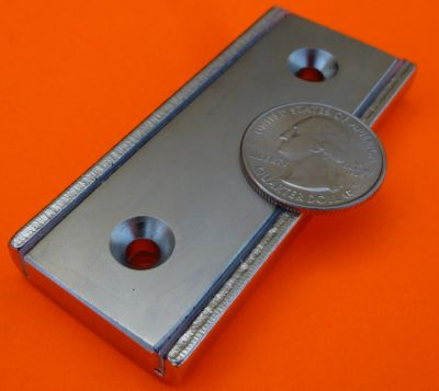 3 in X 1.3 in X 3/8 in Channel Magnet-Rectangular Cup Magnet W/2 Countersunk Holes