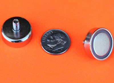 Neodymium Cup Magnets w/M4 Threaded Male Stud 3/4 inch