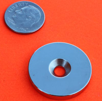 Neodymium Disc Magnets 1 in x 1/8 in w/Countersunk Hole