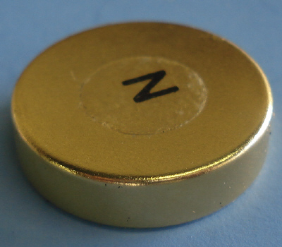 Neodymium Therapy Magnets 1 in x 1/4 in North Labeled Gold Coated Disc