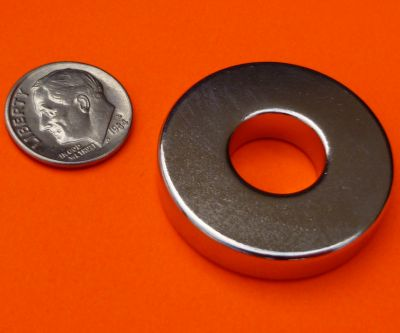 Strong N52 Neodymium Magnet 1.26 in OD x 0.5 in ID x 0.25 in Ring