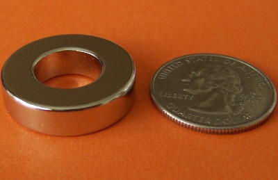 N48 Neodymium Ring Magnets 1 in OD x 1/2 in ID x 1/4 in NdFeB