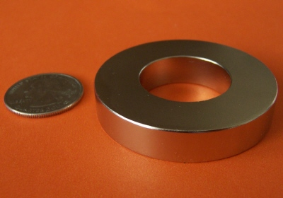 Rare Earth Magnets 2 in OD x 1 in ID x 1/4 in Neodymium Ring NdFeB