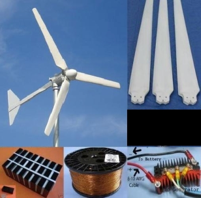 8.5 Foot DIY Home Wind Turbine Package with AC to DC Rectifier Kit